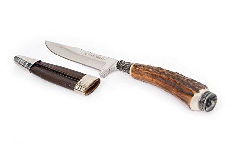 Trachtenmesser für die Lederhose, Jagdmesser, Nicker, Echtes Feitl, Gamskopf-Motiv, 9cm Edelstahlklinge, Rostfrei