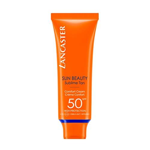 LANCASTER Sun Beauty Comfort Cream LSF 50, Gesichts-Sonnencreme, feuchtigkeitsspendend, mit Bräunungsaktivator, 50ml