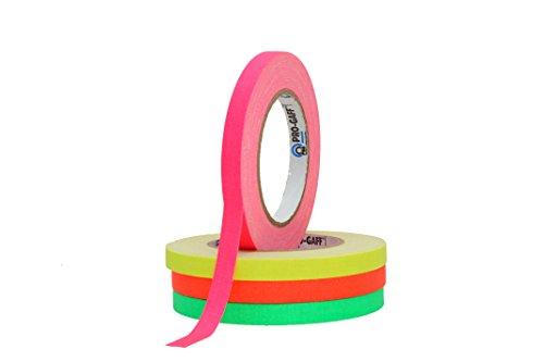 ProTapes/Permacel 12mmx25 yard fluoreszierendes Gaffer Textil Klebeband - grün/orange/pink/gelb