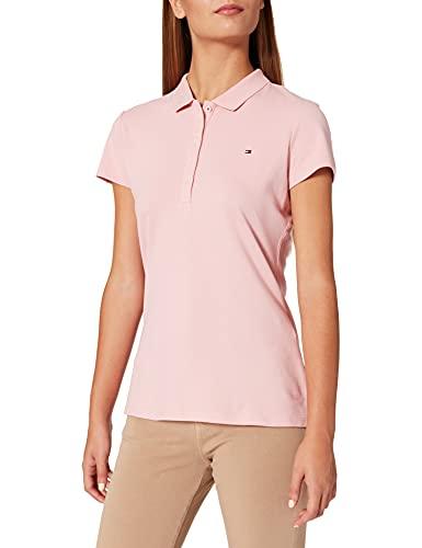 Tommy Hilfiger Short Sleeve Slim Polo Camiseta, Rosa (Glacier Pink), 3XL para Mujer