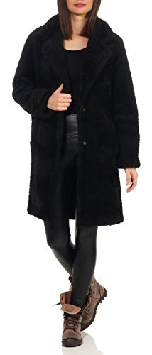 Malito Damen Winter Mantel | Fleecejacke mit Taschen | weiche Plüschjacke | Teddyjacke - Parka - Sherpa 1776 (schwarz, S)