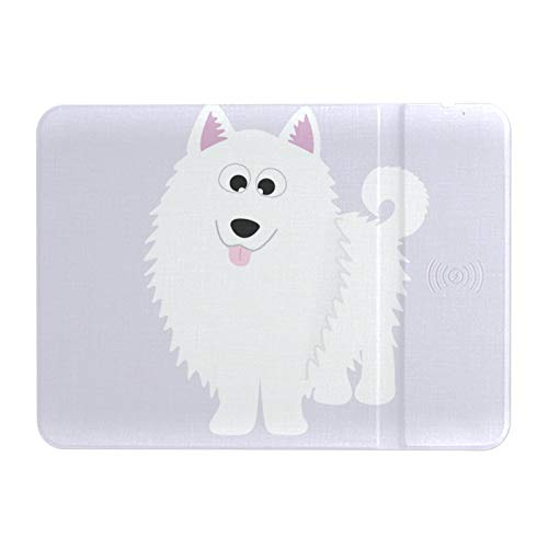 Fast Wireless Charging Mouse Pad Case-Friendly Large 10w Wireless Charger Gaming Mouse Mat for iPhone 12/12 Pro/xs/x/8/11 for Samsung S20/note 10 for Airpods Pro, Samoyed Pup Fluffy White Pup
