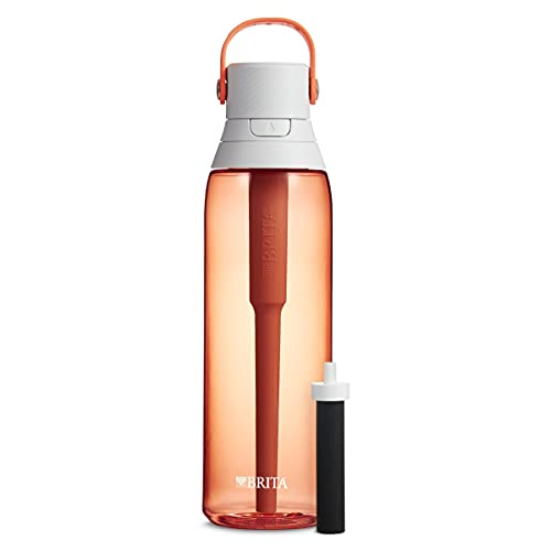 Brita Plastic Water Filter Bottle, Coral, 26 Ounce, 1...