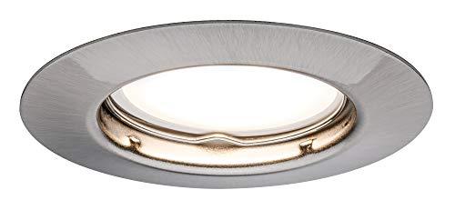 TIP Paulmann 3953 LED Set 3x3W Einbaustrahler Komplettset Einbaulicht inkl. GU10 Leuchtmittel Spot Eisen gebürstet Deckeneinbau starr Einbauleuchte, Metall, 3 W