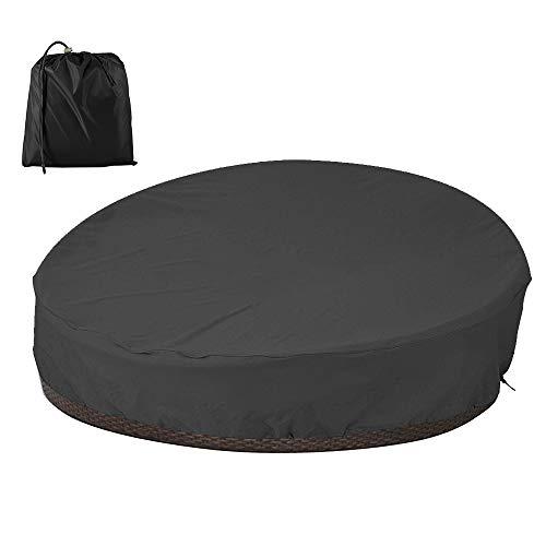 Funda protectora para sofá cama redonda impermeable, funda de sofá cama redonda de Oxford 210D, funda de protección para salón de jardín con cuerda, anti rayos UV/lluvia/viento (negro 210D)