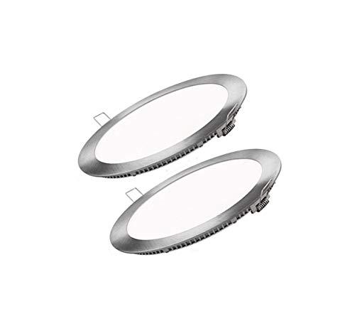 Placa LED SuperSlim Redondo 20W (Pack 2) Foco Downlight de Techo Panel LED Φ220mm Empotrado Marco Plata Blanco Neutro 4000k 2000lm