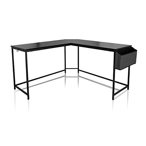 hjh OFFICE WORKSPACE 830060 - Escritorio de esquina con compartimento (135 x 135 cm), color negro