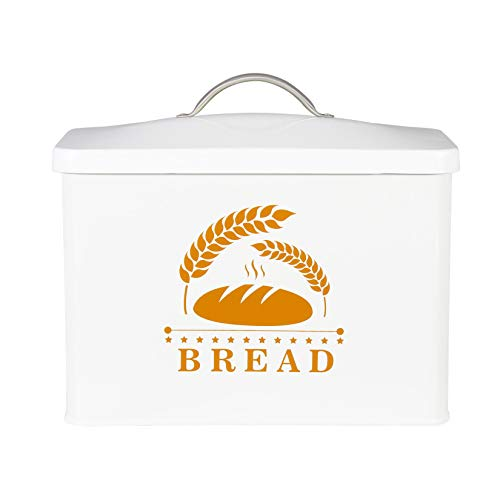 Farmhouse Bread Box,Bread Storage Container Homemade Loaves, Bagels, Chips & More,Clever Modern Collection White Bread Box With Lid Kitchen Storage Bread Bin Bread Storage