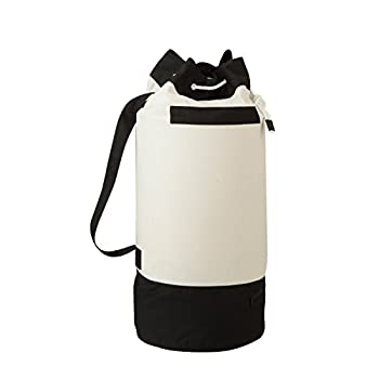 Honey-Can-Do LDY-03277 Extra-Capacity Laundry Duffle Bag with Carrying Strap,Black/White,15.2  x 15.2  x 33.1