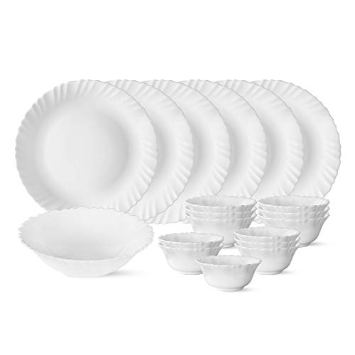 Larah by Borosil Snow (Plain White) Silk Series Opalware Dinner Set, 19 Pieces, White