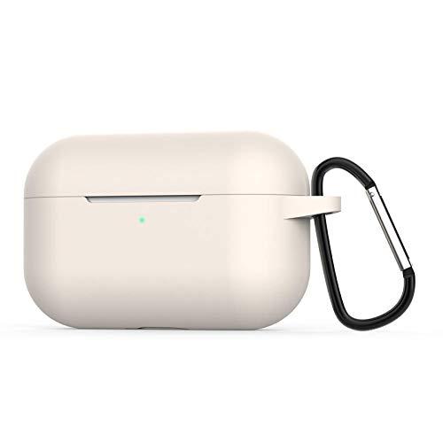 para AirPods Pro Funda Coque Earpods para Airpod Pro Funda para Apple Air Pods Pro Earbud Caja de Carga Funda Etui-Blanco Crema