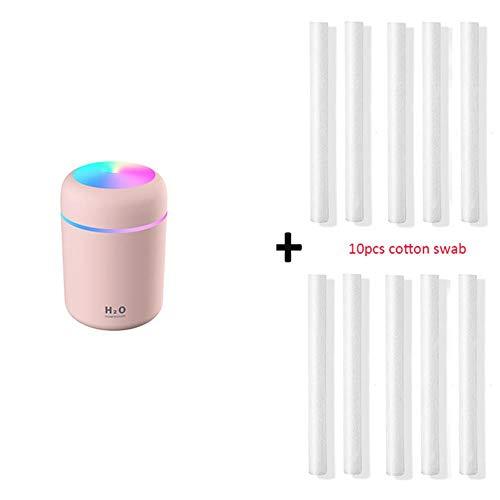 ININ Humidificador para Dormitorio Portátil 300Ml Humidificador USB Ultrasonic Dazzle Cup Aroma Diffuser Cool Mist Maker Humidificador de Aire Purificador con luz romántica, Filtro Rosa 10