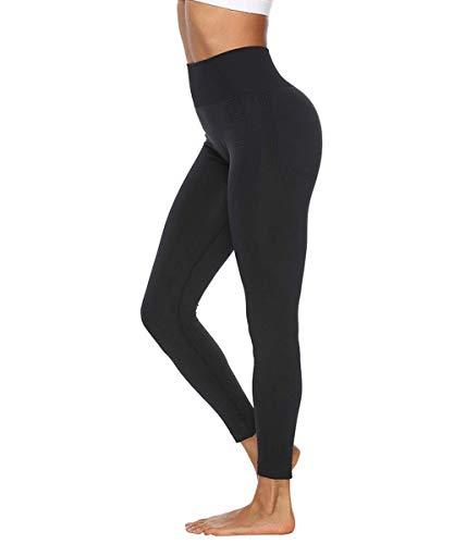 Yaavii Women Yoga Leggings Seamless High Waisted Tummy Control Yoga Pants for Gym Running Workout, M, Black-1