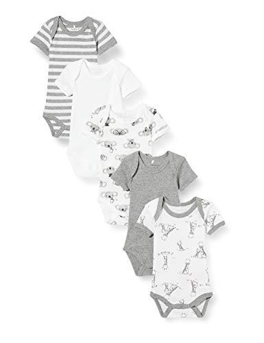 NAME IT Nbnbody 5p SS Grey Mel. Bear Noos Pelele, Melange Gris, 50 para Bebés