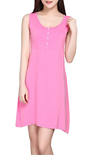 ZONVENL Robe Enceinte Vêtements de Maternité Nursing Tops Long T-Shirt Allaitement Vest Dress avec Bouton Casual Confortable Robe Tendance