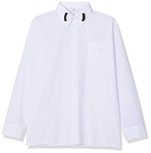 Weißes Hemd mit Fliege und langen Ärmeln, für Hochzeit, Taufe, Party, Schule Gr. 98 cm, weiß