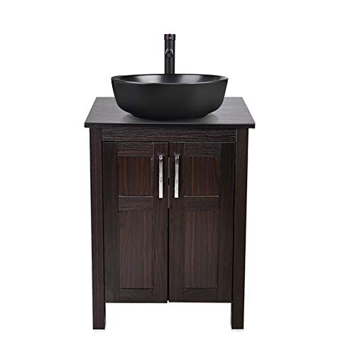 YOURLITE 24 inch Bathroom Vanity Combo Modern MDF Cabinet Ceramic Counter Top Vessel Sink with 1.5 GPM Faucet and Pop Up Drain (Cabinet A+Brown Sink) (Cabinet+Round Black Sink B)