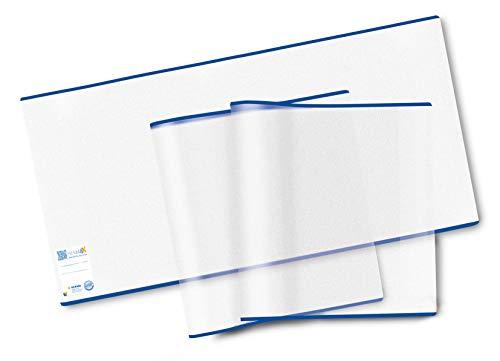 HERMA 20217 Buchumschlag HERMÄX Classic (Größe 26,5 x 54 cm, transparent) Buchhülle aus robuster Folie mit Namensetikett, 3er Set Buchschoner für Schulbücher