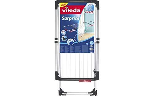 Vileda Surprise - Tendedero Extensible de Acero y Aluminio, Espacio de Tendido de 11 hasta 20m, Soporte para Artículos...