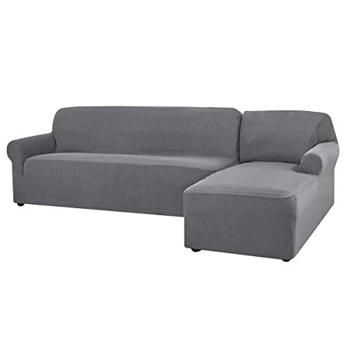 CHUN YI Stretch Sectional Couch Covers Soft L-Shaped Sofa Slipcovers with Elastic Bottom , Jacquard Chaise Lounge Set for Living Room 2 Seat Sofa (Right Chaise,Light Gray)