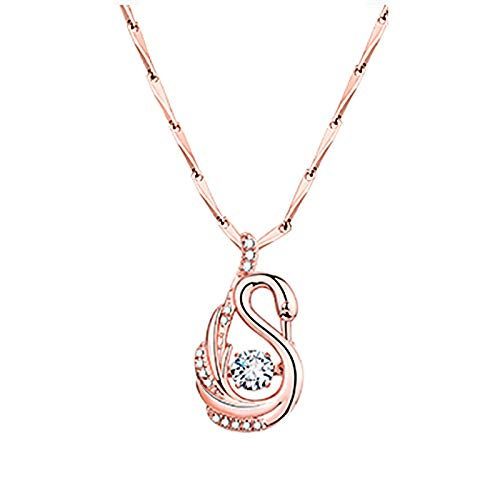 Hins Personalised Necklace for Women, Creative Smart Swan Rhinestone Sports Necklace, Fashion Diamond Elegant Pendant Jewelry Gift for Wife, Mum and Girlfriend