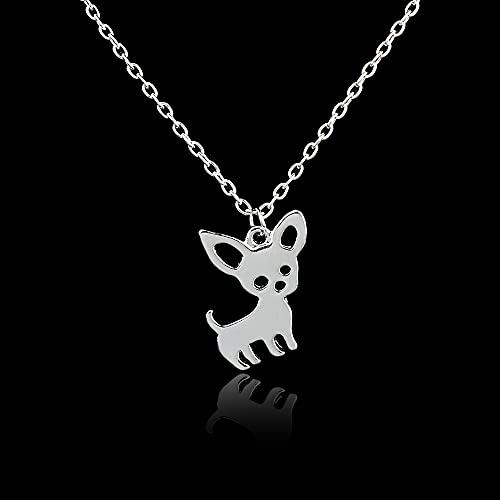 VAWAA Lindos Collares con Colgante de Mascota Chihuahua para Mujeres Love My Pet Animal Perro Collar Gargantilla Forma de Cachorro Collares Collier Femme