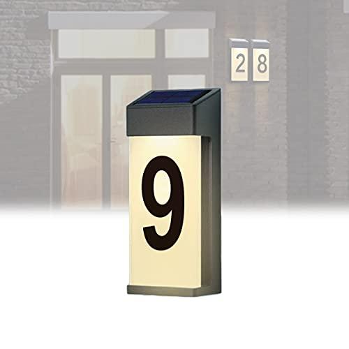 YCRD Lluminación Exterior con Número de Casa, Lámparas Solares LED Placas Dirección Número, Luces Led Solares a Prueba Agua, Adecuadas para Luces Placa, Vallas, Patios, Calles, Parques,9