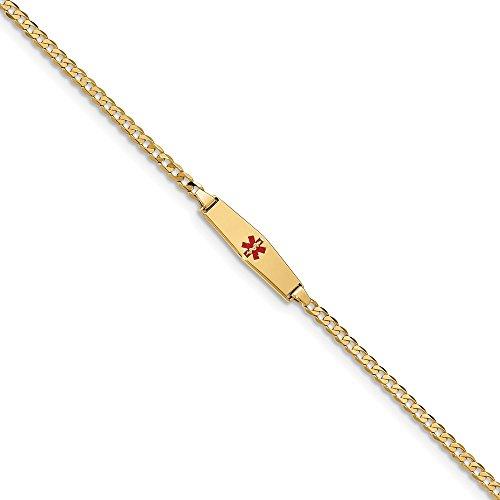 Best Birthday Gift 14k Medical Soft Diamond Shape Red Enamel Curb Link ID Bracelet