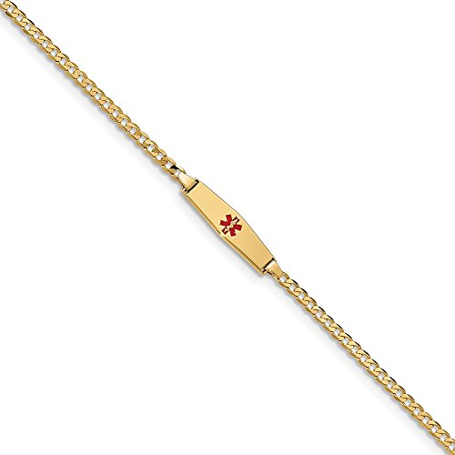 Best Birthday Gift 14k Medical Soft Diamond Shape Red Enamel Curb Link ID Bracelet