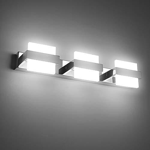 Temgin Spiegelleuchte LED 3 Flammig Badleuchte 50cm Badlampe 18W Spiegellampe KaltWeiß 6000K Badezimmer Lampe Wandleuchte badezimmer Wandlampe