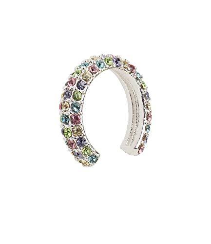 SIX Piercing para el oído bañado en plata con brillantes de colores pastel, rosa, verde, blanco y azul, piercing (593-443)