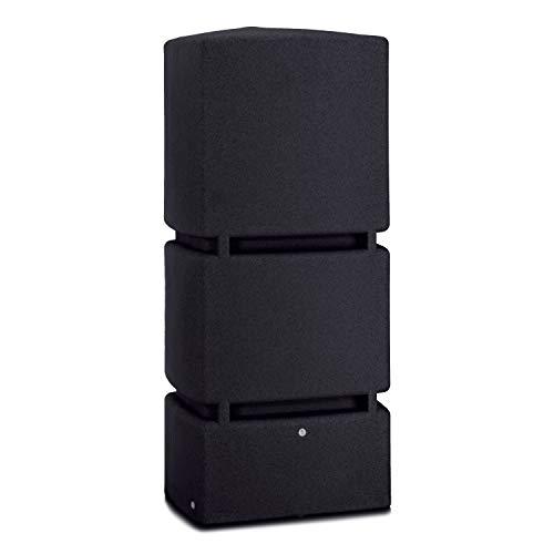Regentonne eckig Regenwassertank Jumbo 800 Liter schwarz aus UV- und witterungsbeständigem Material. Frostsichere Regenwassertonne bzw. Regenfass Wandtank mit hochwertigen Messinganschlüssen