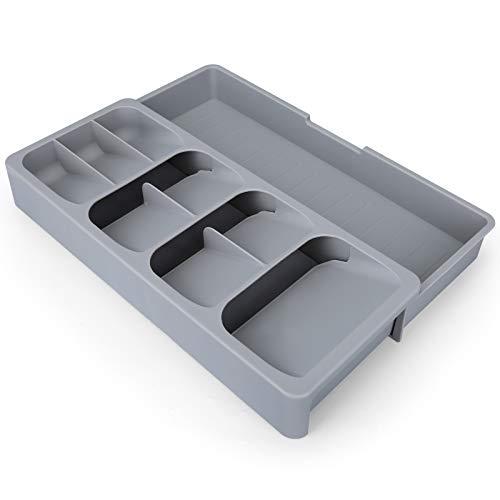 CEGAR Organizer per cassetti espandibile, Organizer per Posate, Organizer per cassetti da Cucina Estensibile Posate. Cassetto portaoggetti Vassoio, Senza BPA, 16,0 x 6,6 x 2,4 Pollici,Grigio