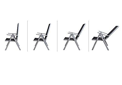 Deuba Sitzgruppe Bern 6+1 Aluminium 7-Fach verstellbare Hochlehner Stühle Tisch mit Sicherheitsglas Silber Garten Set - 6