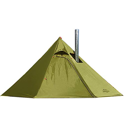 Tipi Hot Tent with Fire Retardant Stove Jack for Flue Pipes, 3 Person Lightweight, Teepee Tents for Family Team Outdoor Backpacking Camping Hiking (Olive Drab)