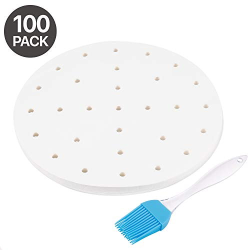Flexzion Air Fryer Perforated Parchment Paper Sheets Liners, 7.5 Inch 100 Sheet Top Best Accessories for 3.5 3.7 QT AirFryer, Bamboo Steamer Basket, Baking Paper, Microwave, Oven Non-Stick Cooking