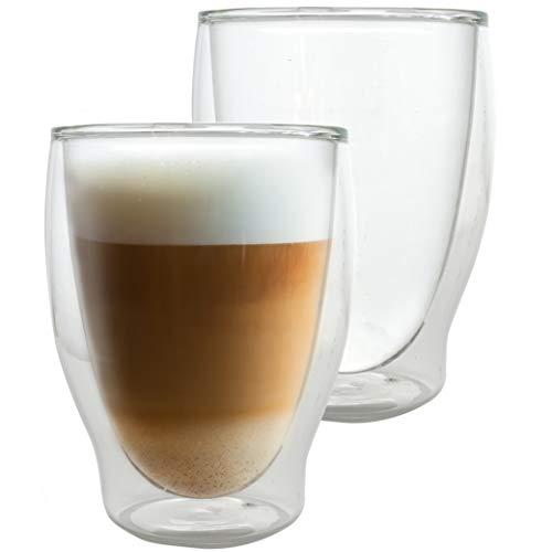 Caffé Italia Milano 2 x 250 ml Doppelwandige Gläser -Thermogläser für Cappuccino Tee Heiß- und Kaltgetränke - spülmaschinengeeignet