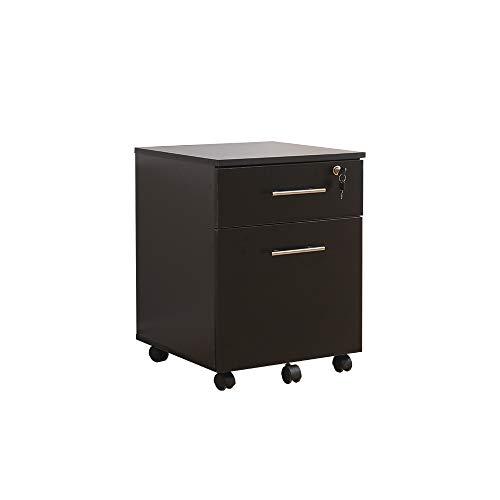 Mobiler Untertisch mit 2 Schubladen, abschließbar, 42 x 44 x 56 cm, Schwarz