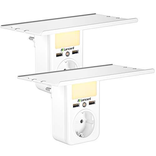 [2 Piezas]Extensor de Enchufe USB Pared Multi, Adaptador de Cargador con Estante, Protector contra Sobretensiones con Luz Nocturna Ajustable, Ladron Enchufe el Hogar, Cocina[1 salidas de CA + 2 USB]
