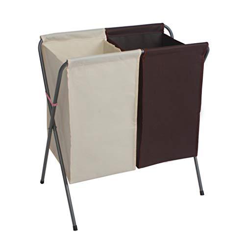 KKY-ENTER Panier à linge Double grille pliable Dirty Hamper Panier de rangement des vêtements de ménage Coffre à Linge (Couleur : B)