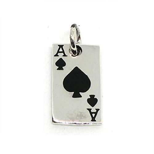 Pik Ass Schmuck Anhänger Silber Kartenspieler Geschenk Spielkarte 925er Kettenanhänger