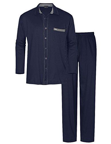 Mey Herren Pyjama mit durchgeköpftem Oberteil 21783, indigo, 54