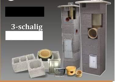 SUCCSALE-NICPONT Keramikschornstein Bausatz 3-Schalig Massiv MIT LÜFTUNGSKANAL DN200 4,00m