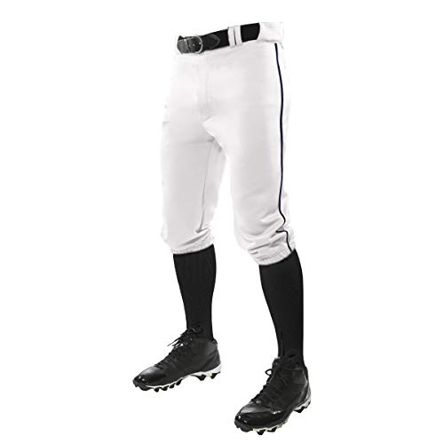 CHAMPRO Triple Crown Knicker Style Baseball Pants with Contrast-Color Braid Piping and Reinforced Sliding Areas WHITE, NAVY PIPE, Adult Small