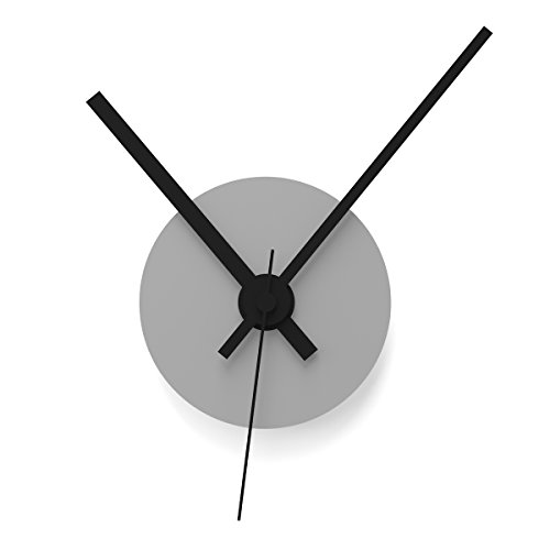 """Wandkings Wanduhr SOLO CLOCK\""""Scheibe\"""" mit Uhrwerk & Uhrzeigern - in 13 Farben erhältlich (Farbe: Uhr=Grau glänzend, Zeiger=Schwarz)"""