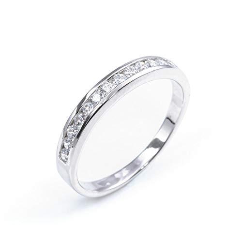 Silverly Anillo Mujer en Plata .925 con Diamantes de Circonita Cúbica Eternidad
