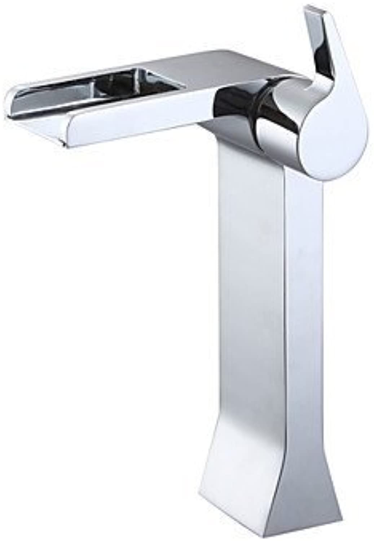 SEBAS HOME Basin Tap Chrome Finish Waterfall Single Handle Tall Bathroom Sink Faucet Bathroom Faucet Basin Mixer Tap