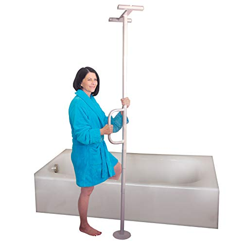 Able Life Universal Floor to Ceiling Grab Bar, Elderly Tension Mounted Floor to Ceiling Transfer Pole, Bathroom Safety Assist Grab Bar and Stability Rail with Support Handle
