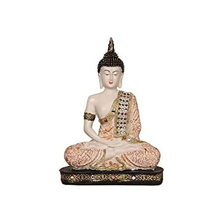 HEERAN Art Polyresin Sitting Buddha 24 cm Copper and White