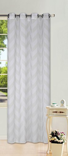 "GorgeousHomeLinen (S37) 1 PC Chevron Pattern Design Voile Sheer Two-Tone Window Curtain Drape Panel 8 Silver Grommets 55"" W X 63"" 84"" 95"" 108"" L (95"" Long, Ivory)"